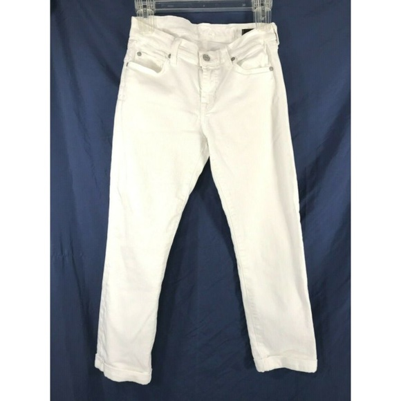 7 For All Mankind Denim - 7 For All Mankind 27 Skinny Crop & Roll White Jean